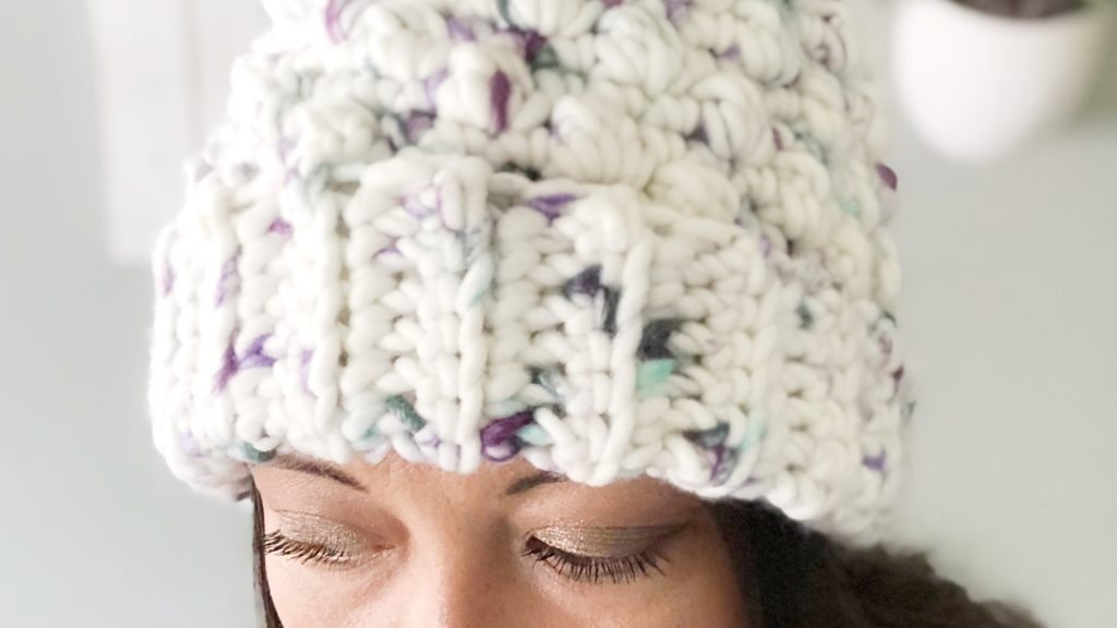 A chunky crochet beanie made with The Heather Beanie pattern, a free crochet pattern by Sarah | The Plush Pineapple
